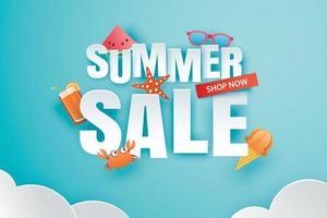 Sommerverkauf mit Dekoration Origami auf blauem Himmel Hintergrund vektor