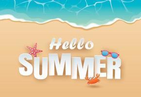 Hallo Sommer Strand Draufsicht Reise und Urlaub Hintergrund vektor