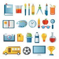 Icon-Set für den Schulanfang vektor
