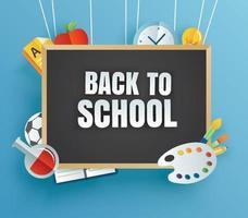 tillbaka till skolans banner med utbildningsartiklar och svart tavla vektor