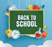 tillbaka till skolans banner med utbildningsartiklar och grön svarta tavlan vektor