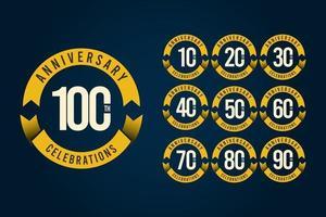 100-årsjubileum firande logotyp vektor mall design illustration