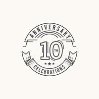Illustration för design för mall för vektor för 10 år för firande för årsdagfirande