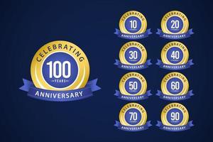 100 års jubileumsuppsättning firar blå och gul vektormalldesignillustration