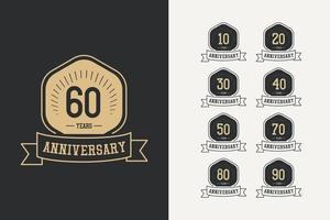 60-årsjubileum firande logotyp vektor mall design illustration