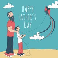 Gullig pappa med son som flyger en drake vektor