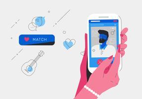 Online-Dating-Apps, die Match mit einer Mann-Vektor-Illustration erhalten