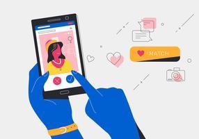 Online-Dating-Apps, die Match mit einer jungen Frauen-Vektor-Illustration erhalten vektor