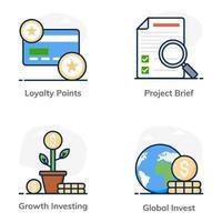 affärs- och investeringsuppsättning vektor