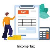 inkomstskatt beräkning koncept vektor