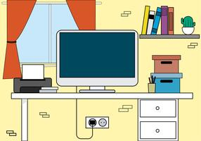 vektor kontor skrivbords illustration