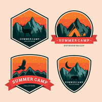 Sommer Camp Patch Label vektor