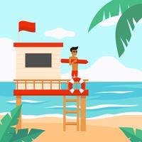 Livräddare Beach Vector