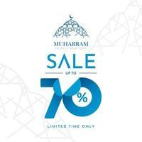 islamischer Neujahrsverkauf bis zu 70 zeitlich begrenzte Etiketten-Tag-Vektorschablonen-Designillustration vektor