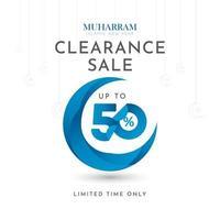 islamische Neujahrsausverkauf bis zu 50 zeitlich begrenzte nur Etiketten-Tag-Vektorschablonen-Designillustration vektor