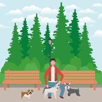 junger Mann mit niedlichem Hundemaskottchen im Park vektor