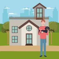 Mann, der Hundemaskottchen im Haus im Freien anhebt vektor