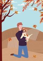 junger Mann mit niedlichem Hundemaskottchen im Herbstlager vektor
