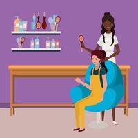 Afro-Stylist, der die Haare des Kunden im Salon macht vektor