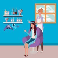 Stylist macht die Haare des Kunden im Salon vektor