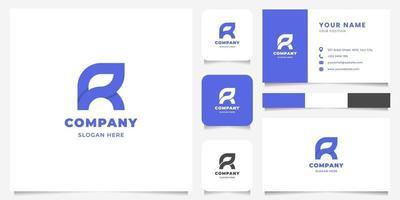 einfaches und minimalistisches geometrisches überlappendes Buchstaben-r-Logo mit Visitenkartenschablone vektor