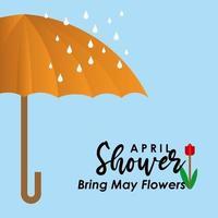 april duschar ger maj blommor vektor mall design illustration