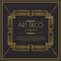 Guld Art Deco Vector Etikett