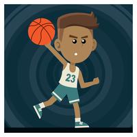 Junge spielt Basketball vektor