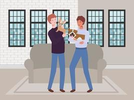 unga män med söta hundmaskoter i vardagsrummet vektor