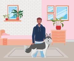 Mann mit niedlichem Hundemaskottchen im Schlafzimmer vektor