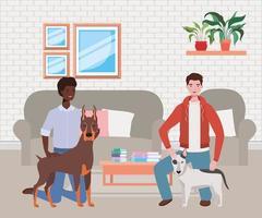 interracial unga män med söta hundmaskoter i vardagsrummet vektor