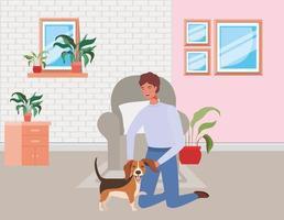 ung man med söt hundmaskot i vardagsrummet vektor