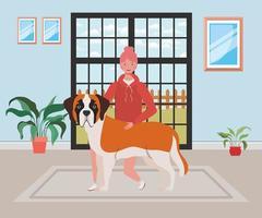 junge Frau mit niedlichem Hund im Hauszimmer vektor