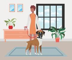 ung afro kvinna med söt hund inomhus vektor