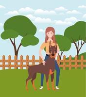 ung kvinna med söt hund i fältet vektor