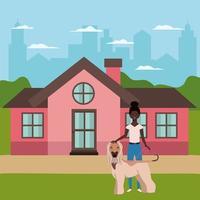 ung afro kvinna med söt hund utomhus vektor