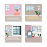 uppsättning hus inomhus scener vektor