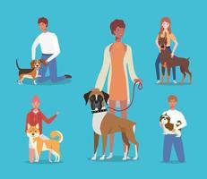 unga människor med söta hundar maskot karaktärer vektor