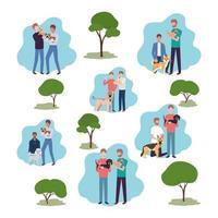 junge Männer mit niedlichen Hunden Maskottchen und Bäumen vektor