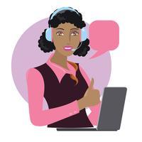 Virtuelle Online-Hilfe Kundensupport oder Kundenservice vektor