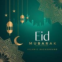Eid Mubarak Gruß Hintergrundvorlage vektor