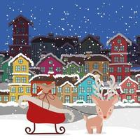 god julkort med renar och släde vektor