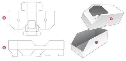 avfasad låda och lock som har mall för fönsterstans