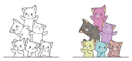 färgglada katter, tecknad målarbok för barn vektor