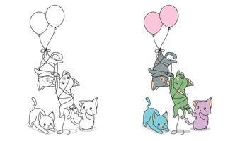 stygga katter med ballonger målarbok för barn vektor