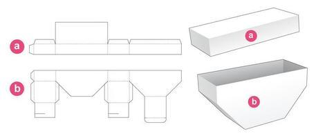 Boden abgeschrägte Box mit Deckel gestanzte Schablone vektor