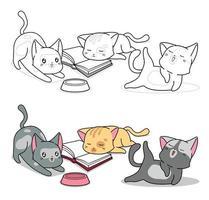 tre kattkaraktärer tecknade målarbok för barn