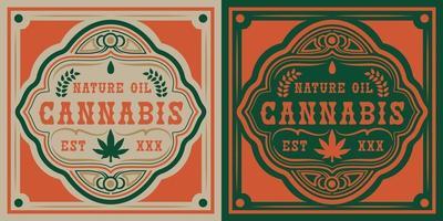 vektor märke av cannabis blad
