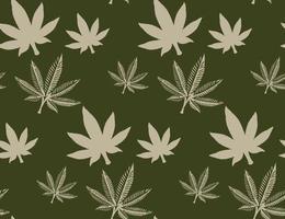 sömlösa mönster med ett cannabisblad