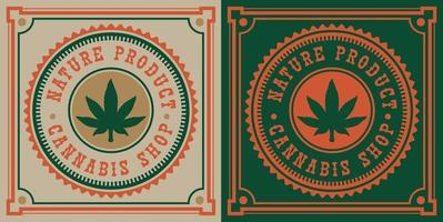vintage emblem av cannabis blad